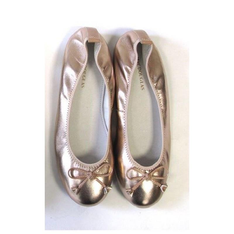 Ballerines Eliane, cuir d'agneau rose poudré métallisé