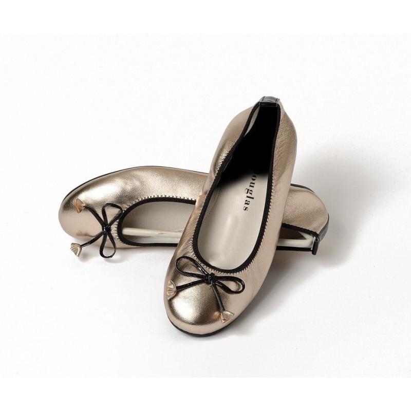 Ballerines Eliane, cuir d'agneau argent métallisé