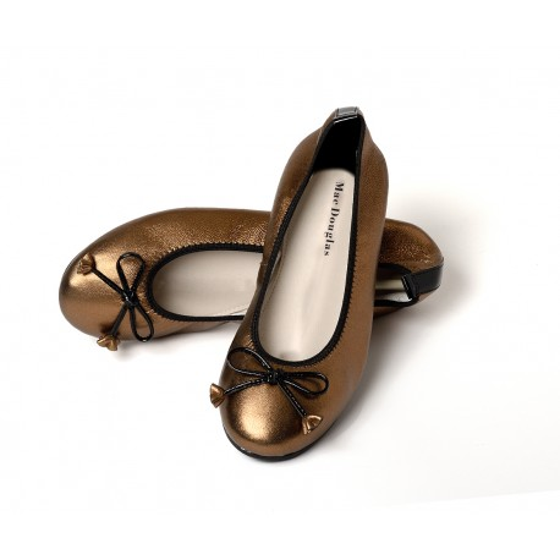 Ballerines Eliane, cuir d'agneau bronze