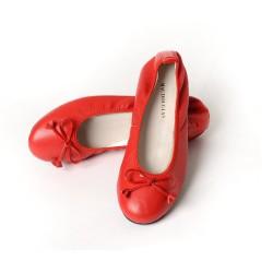 Ballerines Eliane, cuir d'agneau rouge