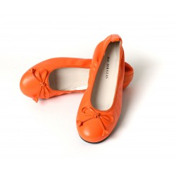 BALLERINES ELIANE, cuir d'agneau orange citrouille