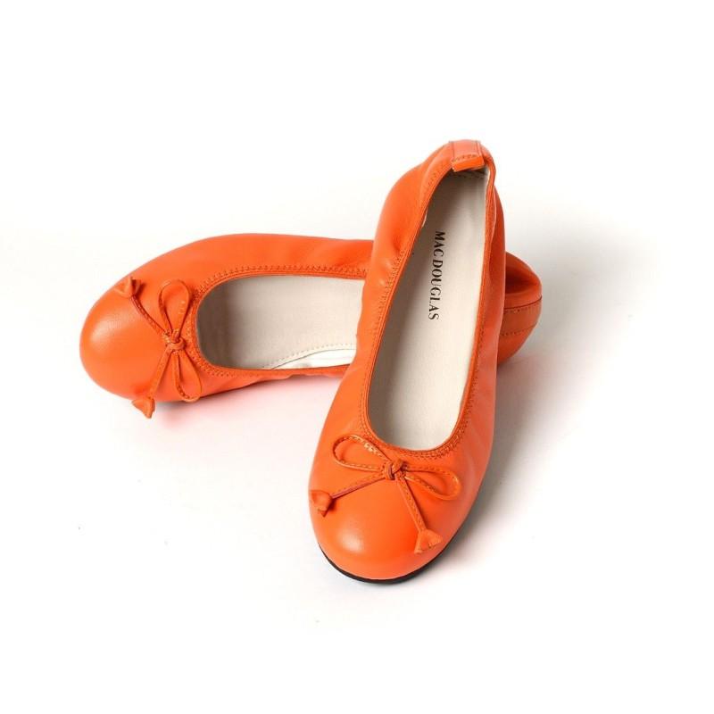 Ballerines Eliane, cuir d'agneau orange citrouille