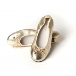 Ballerines Eliane, cuir d'agneau sable métallisé