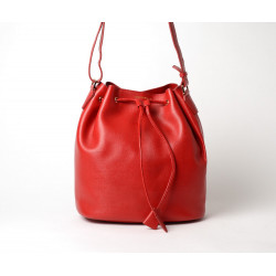 Beverly Elodie sac seau grain safian rouge