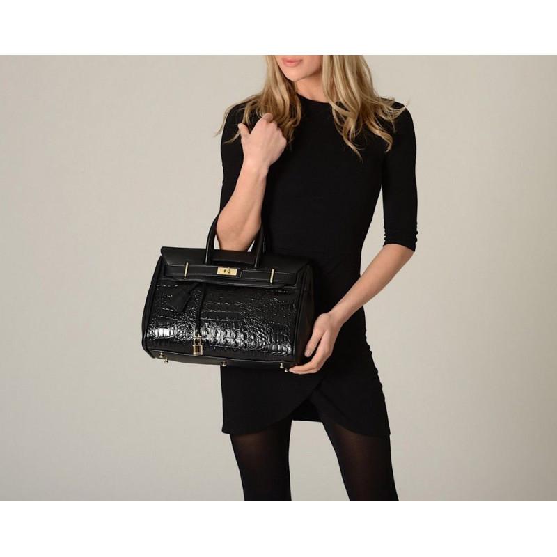 Pyla Meryl petit sac à main façon croco noir