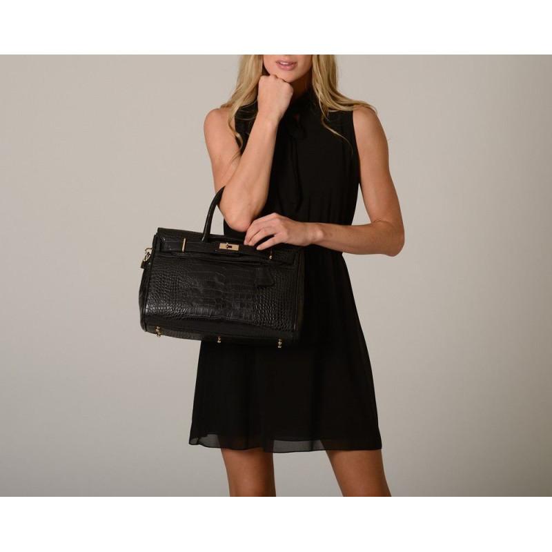 Pyla Romy petit sac à main façon croco noir