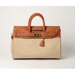 Pyla Fantasia, grand sac à main toile tressée beige