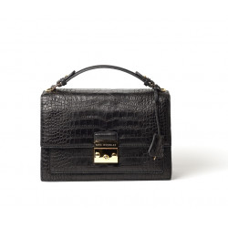 Joyau Romy, sac cartable motif cuir grain croco noir
