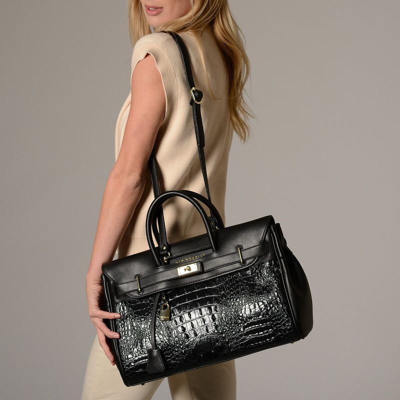 Pyla Meryl grand sac à main façon croco noir