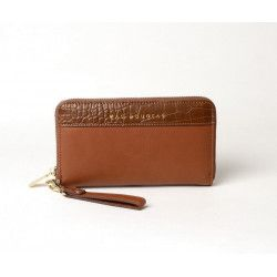 BALISE VEGAN, portefeuille zippé marron