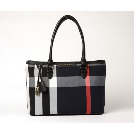 LAURENE FANTASIA, sac cabas à motif tartan noir et blanc