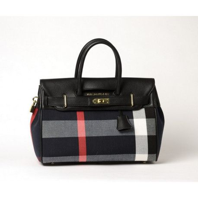 PYLA FANTASIA, petit sac à main à motif tartan noir et blanc