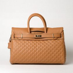 PYLA LOSANGE, grand sac à main camel mat