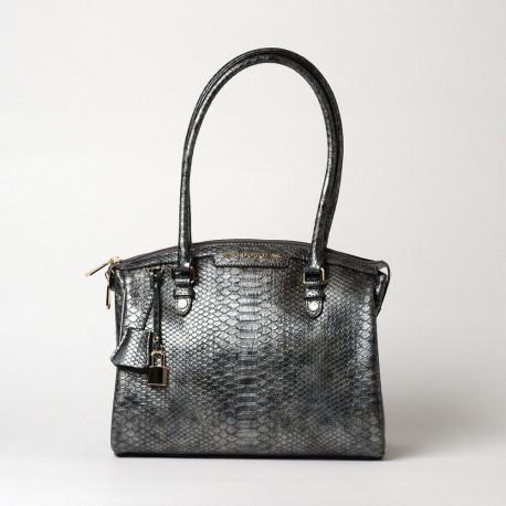RENOIR BRYAN, sac porté épaule motif python silver