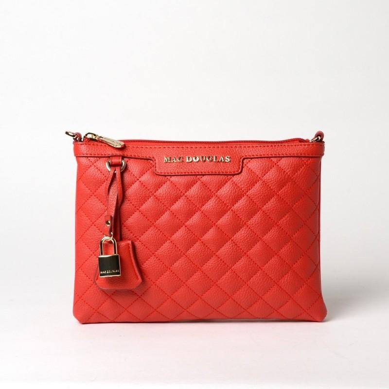 RAKI LOSANGE, sac pochette coquelicot mat
