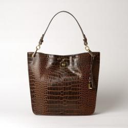 KENTUCKY ROMY, petit sac porté épaule cuir façon croco ébène