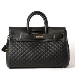 PYLA LOSANGE, grand sac à main noir mat